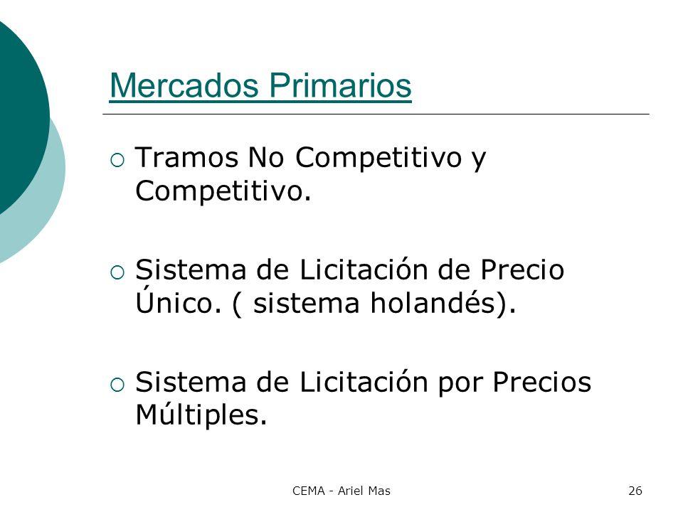 CEMA - Ariel Mas26 Mercados Primarios Tramos No Competitivo y Competitivo. Sistema de Licitación de Precio Único. ( sistema holandés). Sistema de Lici