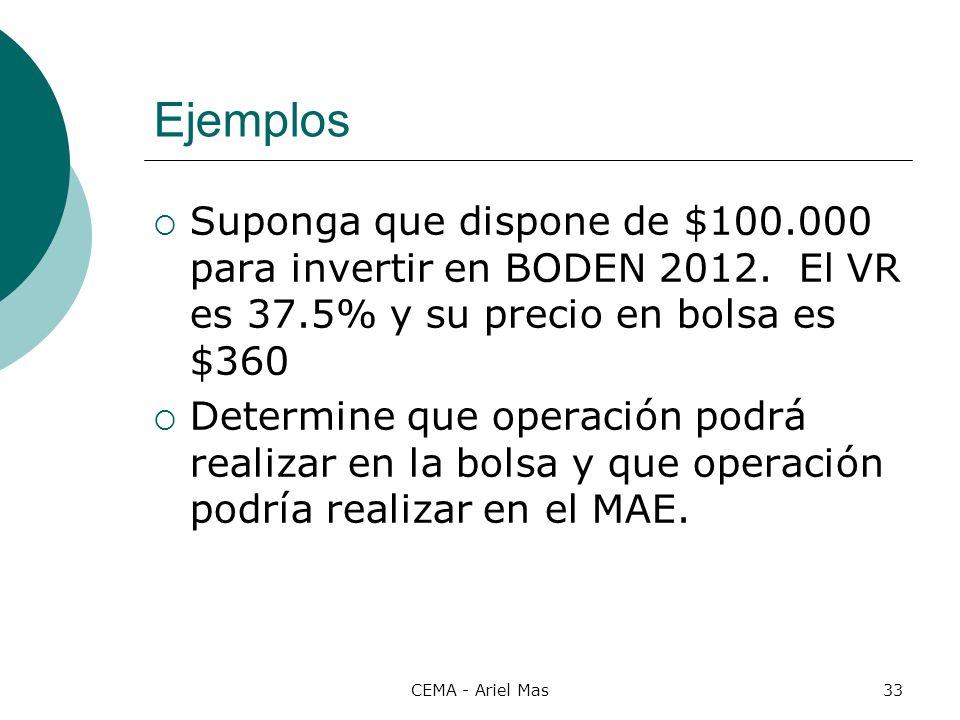 CEMA - Ariel Mas33 Ejemplos Suponga que dispone de $100.000 para invertir en BODEN 2012. El VR es 37.5% y su precio en bolsa es $360 Determine que ope