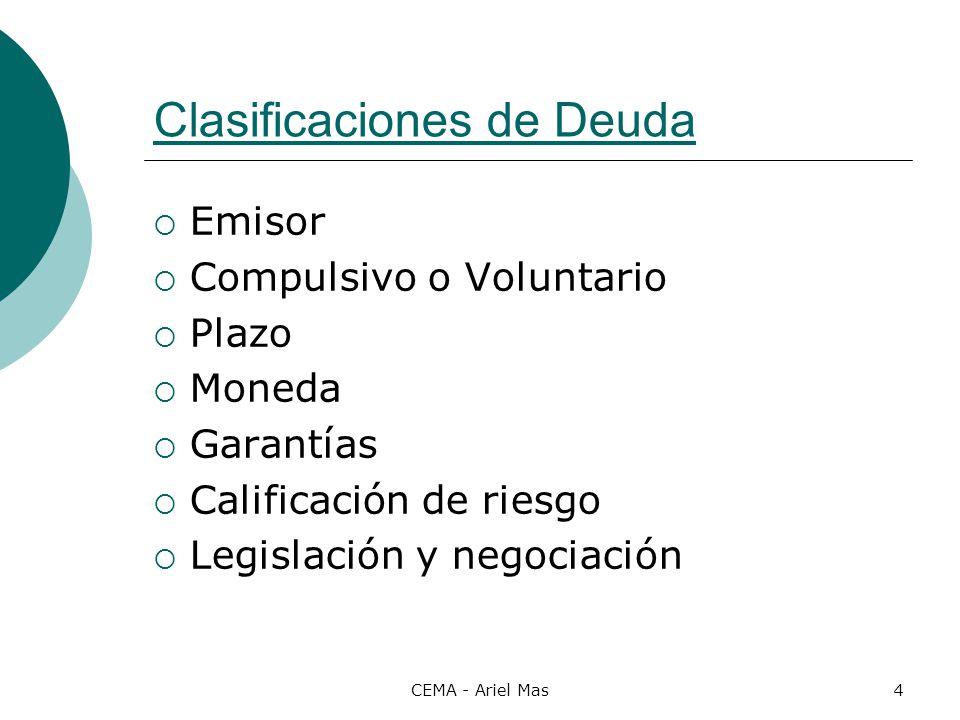 CEMA - Ariel Mas4 Clasificaciones de Deuda Emisor Compulsivo o Voluntario Plazo Moneda Garantías Calificación de riesgo Legislación y negociación