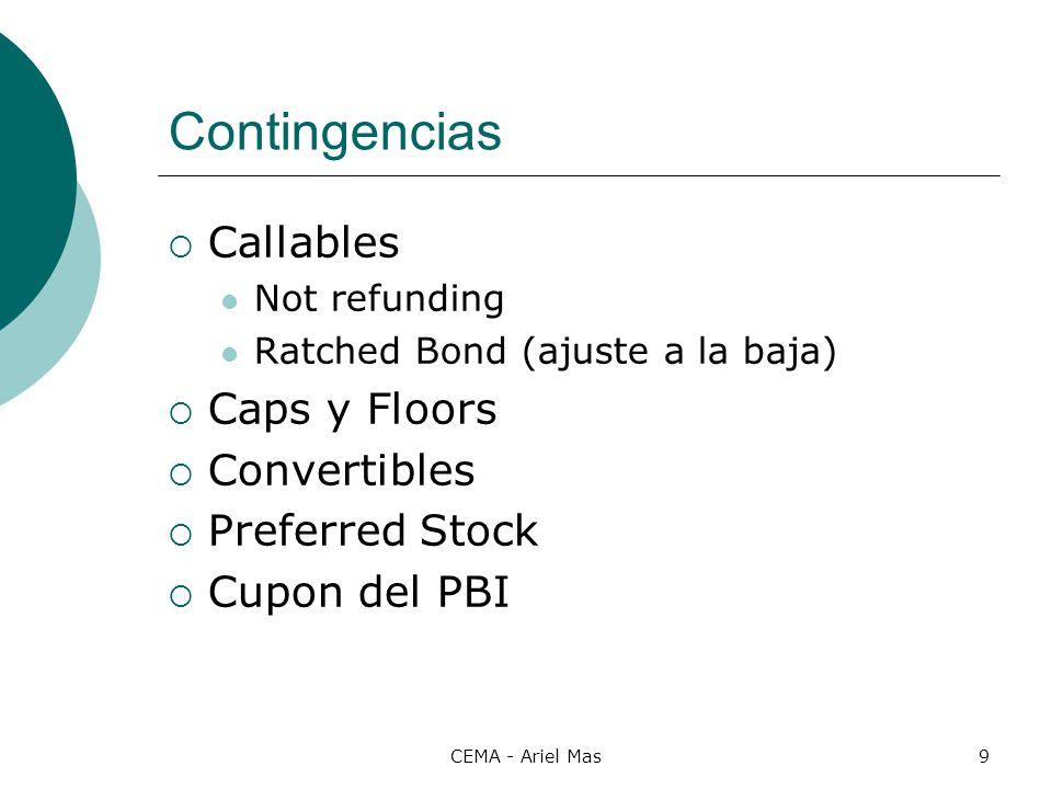 CEMA - Ariel Mas9 Contingencias Callables Not refunding Ratched Bond (ajuste a la baja) Caps y Floors Convertibles Preferred Stock Cupon del PBI