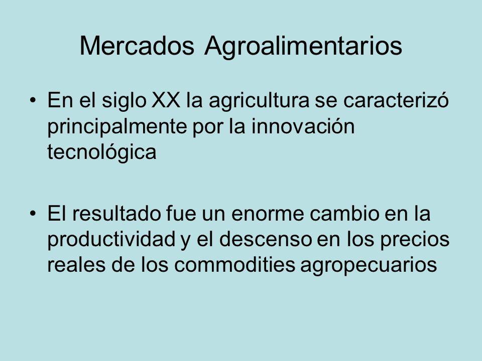 Mercados Agroalimentarios En el siglo XX la agricultura se caracterizó principalmente por la innovación tecnológica El resultado fue un enorme cambio