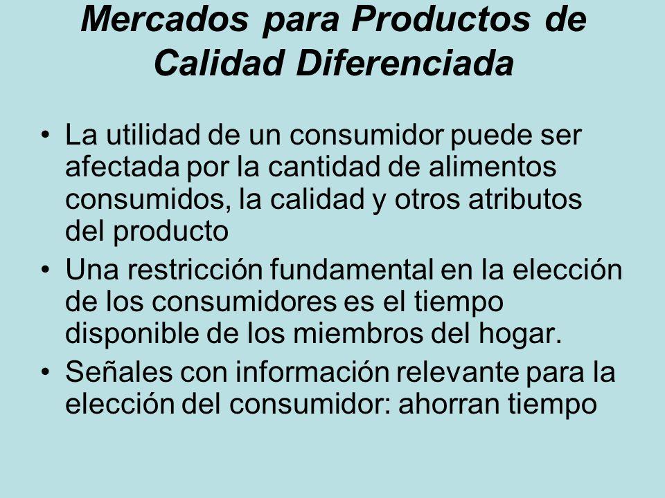 Mercados para Productos de Calidad Diferenciada La utilidad de un consumidor puede ser afectada por la cantidad de alimentos consumidos, la calidad y