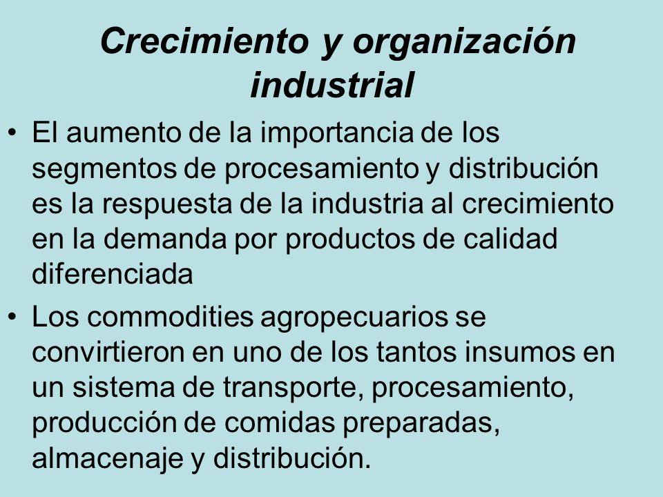 Crecimiento y organización industrial El aumento de la importancia de los segmentos de procesamiento y distribución es la respuesta de la industria al