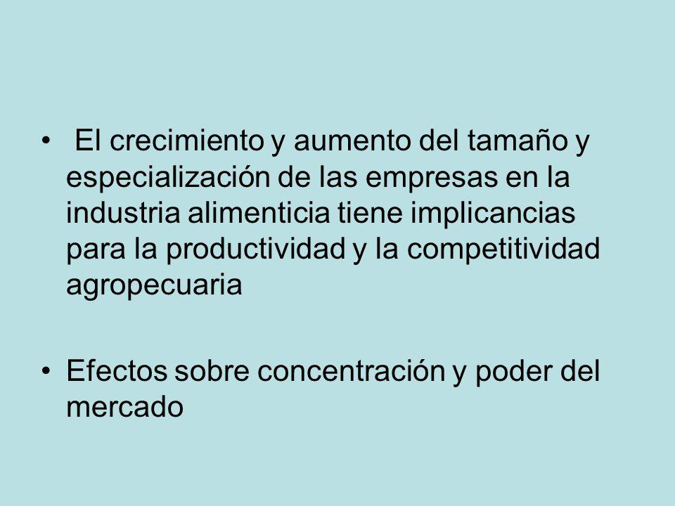 El crecimiento y aumento del tamaño y especialización de las empresas en la industria alimenticia tiene implicancias para la productividad y la compet