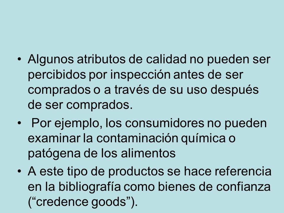 Algunos atributos de calidad no pueden ser percibidos por inspección antes de ser comprados o a través de su uso después de ser comprados. Por ejemplo