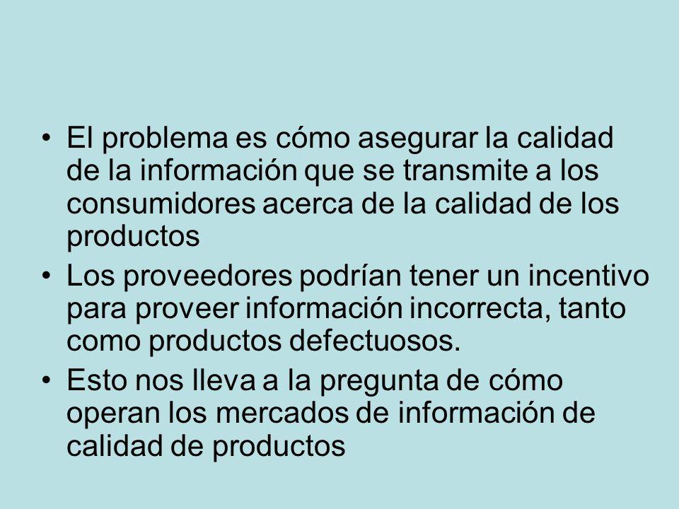El problema es cómo asegurar la calidad de la información que se transmite a los consumidores acerca de la calidad de los productos Los proveedores po