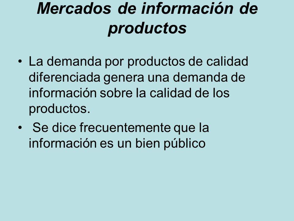 Mercados de información de productos La demanda por productos de calidad diferenciada genera una demanda de información sobre la calidad de los produc