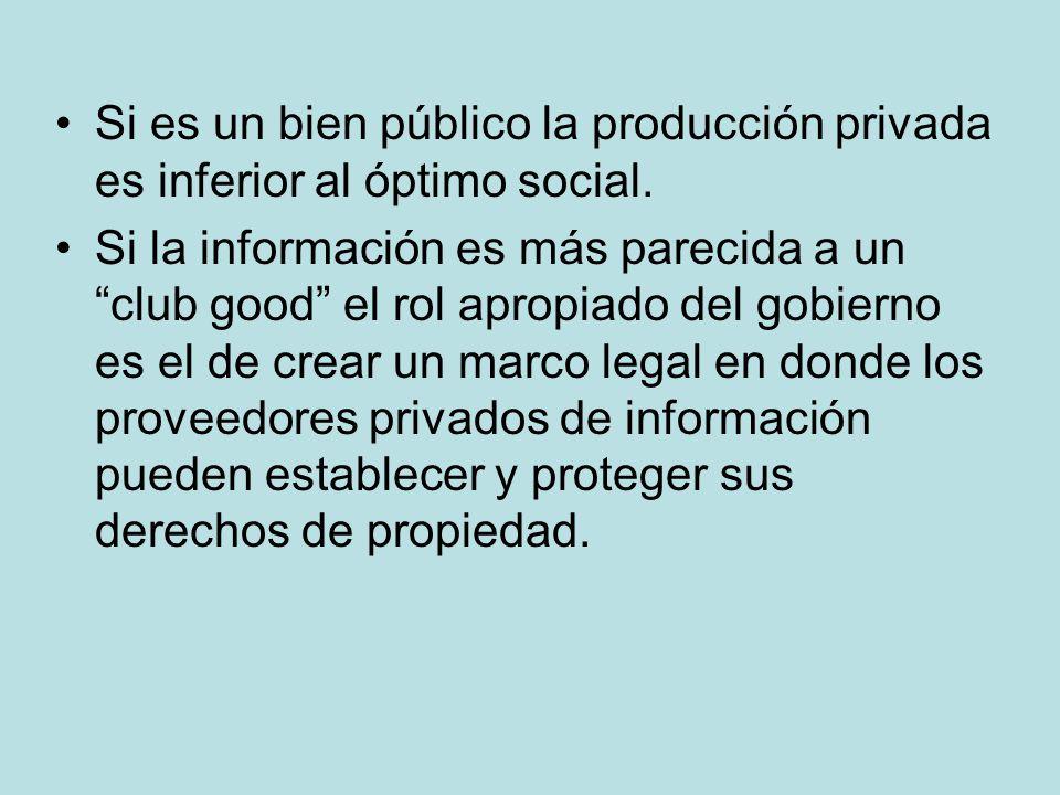 Si es un bien público la producción privada es inferior al óptimo social. Si la información es más parecida a un club good el rol apropiado del gobier