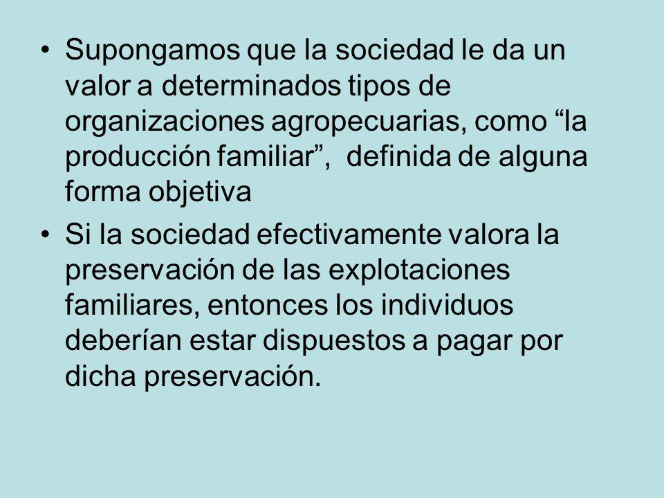 Supongamos que la sociedad le da un valor a determinados tipos de organizaciones agropecuarias, como la producción familiar, definida de alguna forma