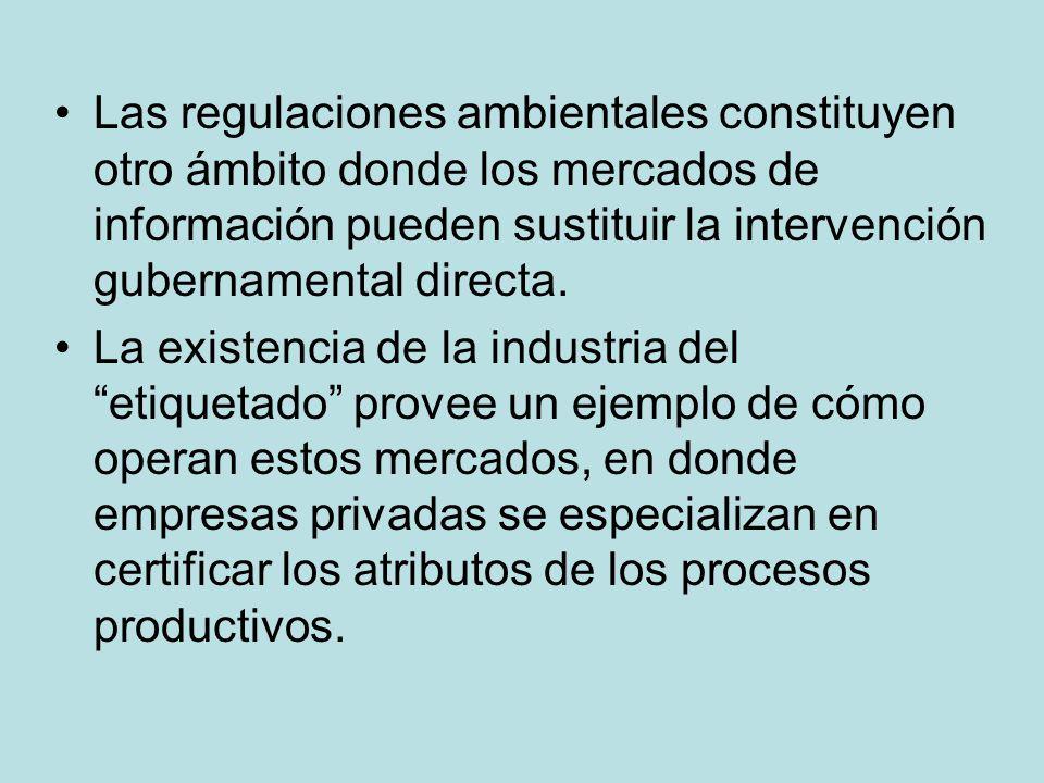 Las regulaciones ambientales constituyen otro ámbito donde los mercados de información pueden sustituir la intervención gubernamental directa. La exis