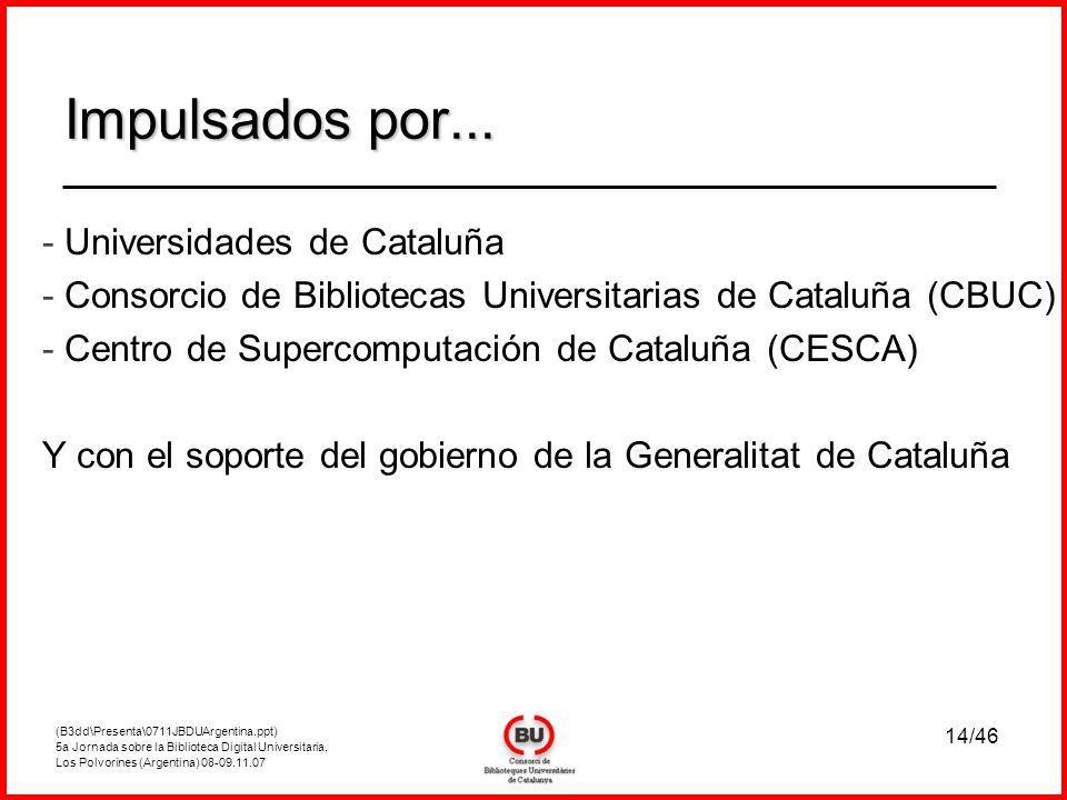 (B3dd\Presenta\0711JBDUArgentina.ppt) 5a Jornada sobre la Biblioteca Digital Universitaria, Los Polvorines (Argentina) 08-09.11.07 14/46 Impulsados por...
