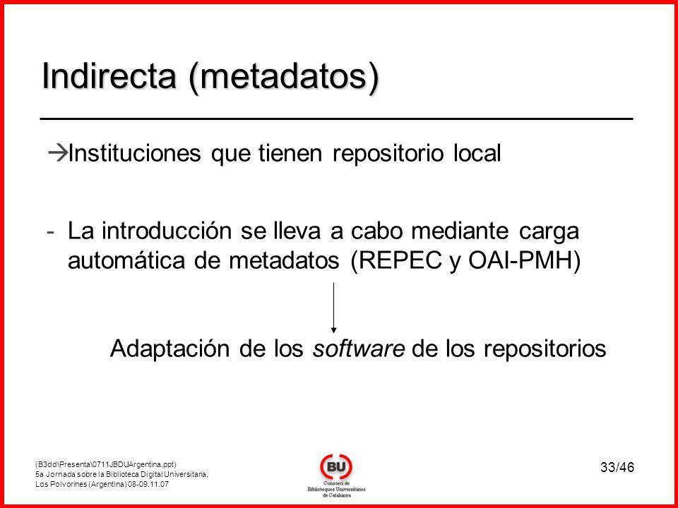 (B3dd\Presenta\0711JBDUArgentina.ppt) 5a Jornada sobre la Biblioteca Digital Universitaria, Los Polvorines (Argentina) 08-09.11.07 33/46 Indirecta (metadatos) Instituciones que tienen repositorio local - -La introducción se lleva a cabo mediante carga automática de metadatos (REPEC y OAI-PMH) Adaptación de los software de los repositorios
