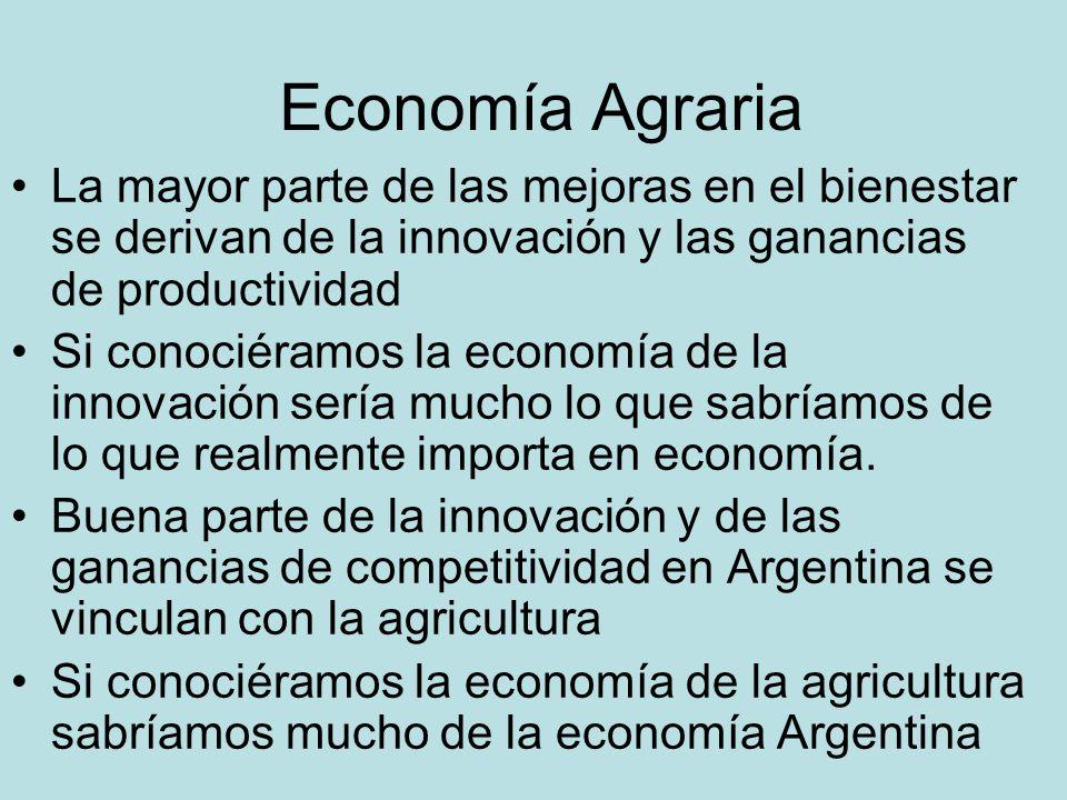 Economía Agraria La mayor parte de las mejoras en el bienestar se derivan de la innovación y las ganancias de productividad Si conociéramos la economía de la innovación sería mucho lo que sabríamos de lo que realmente importa en economía.
