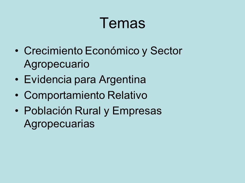 Temas Crecimiento Económico y Sector Agropecuario Evidencia para Argentina Comportamiento Relativo Población Rural y Empresas Agropecuarias