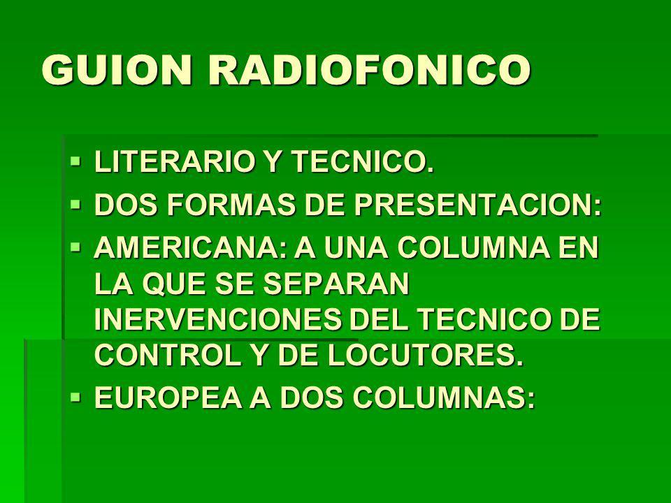 GUION RADIOFONICO LITERARIO Y TECNICO. LITERARIO Y TECNICO. DOS FORMAS DE PRESENTACION: DOS FORMAS DE PRESENTACION: AMERICANA: A UNA COLUMNA EN LA QUE