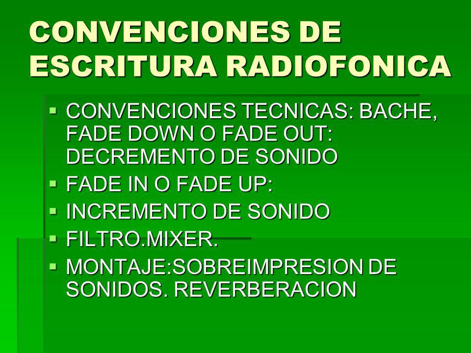 CONVENCIONES DE ESCRITURA RADIOFONICA CONVENCIONES TECNICAS: BACHE, FADE DOWN O FADE OUT: DECREMENTO DE SONIDO CONVENCIONES TECNICAS: BACHE, FADE DOWN