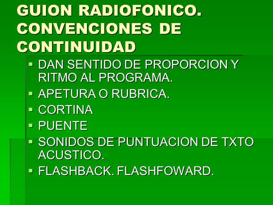 GUION RADIOFONICO. CONVENCIONES DE CONTINUIDAD DAN SENTIDO DE PROPORCION Y RITMO AL PROGRAMA. DAN SENTIDO DE PROPORCION Y RITMO AL PROGRAMA. APETURA O