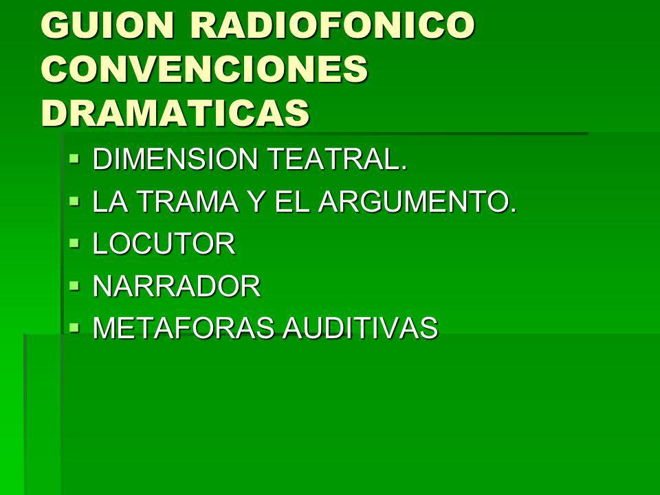GUION RADIOFONICO CONVENCIONES DRAMATICAS DIMENSION TEATRAL. DIMENSION TEATRAL. LA TRAMA Y EL ARGUMENTO. LA TRAMA Y EL ARGUMENTO. LOCUTOR LOCUTOR NARR
