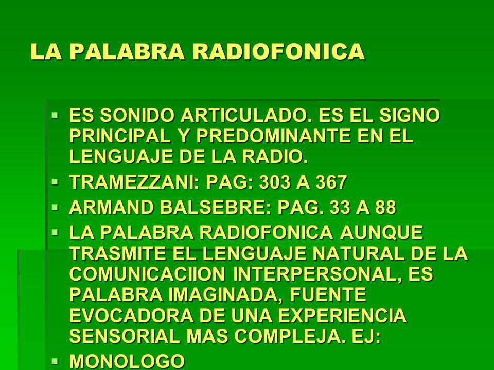 LA PALABRA RADIOFONICA ES SONIDO ARTICULADO. ES EL SIGNO PRINCIPAL Y PREDOMINANTE EN EL LENGUAJE DE LA RADIO. ES SONIDO ARTICULADO. ES EL SIGNO PRINCI