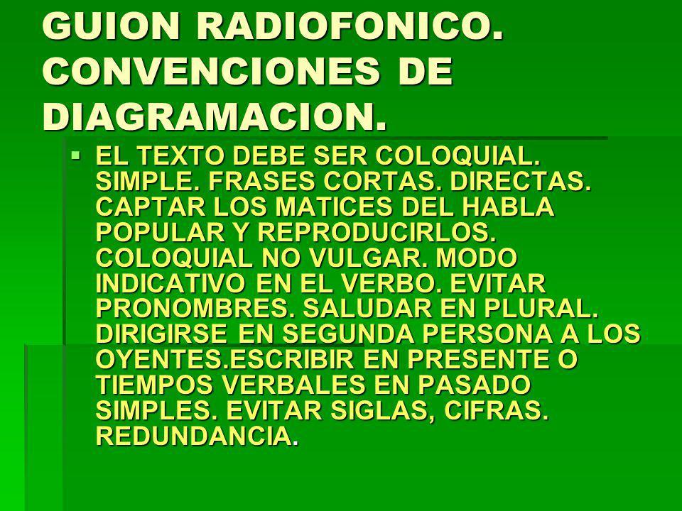GUION RADIOFONICO. CONVENCIONES DE DIAGRAMACION. EL TEXTO DEBE SER COLOQUIAL. SIMPLE. FRASES CORTAS. DIRECTAS. CAPTAR LOS MATICES DEL HABLA POPULAR Y