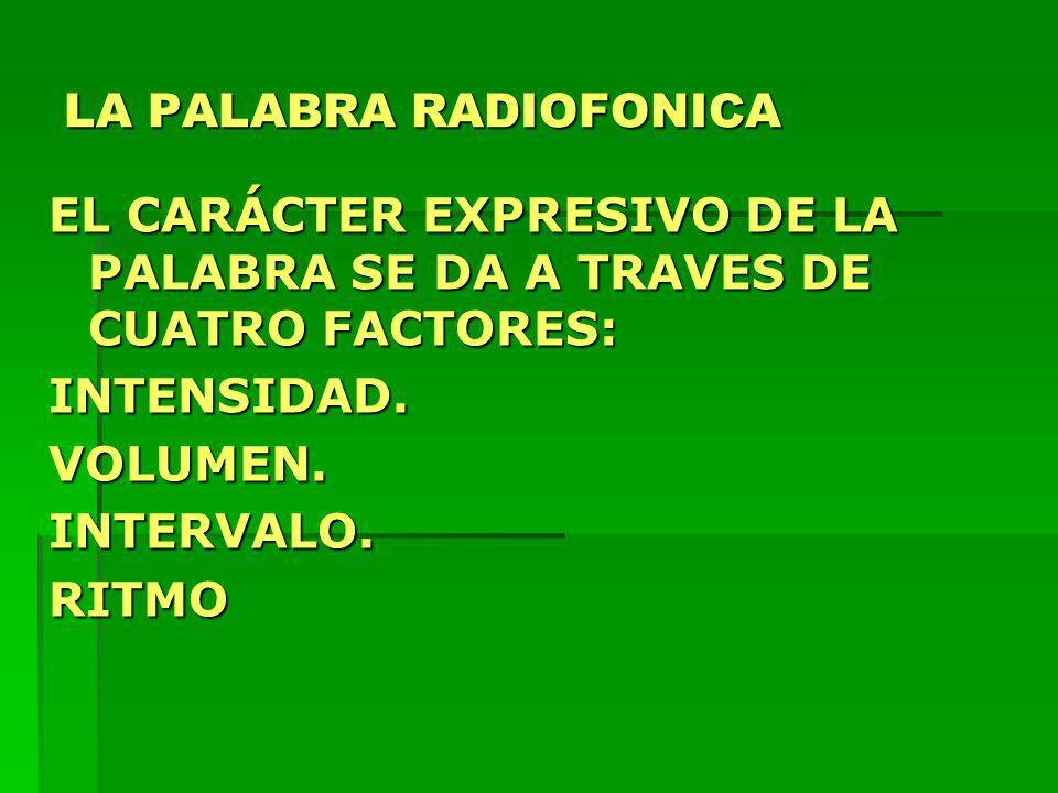 LA PALABRA RADIOFONICA EL CARÁCTER EXPRESIVO DE LA PALABRA SE DA A TRAVES DE CUATRO FACTORES: INTENSIDAD.VOLUMEN.INTERVALO.RITMO