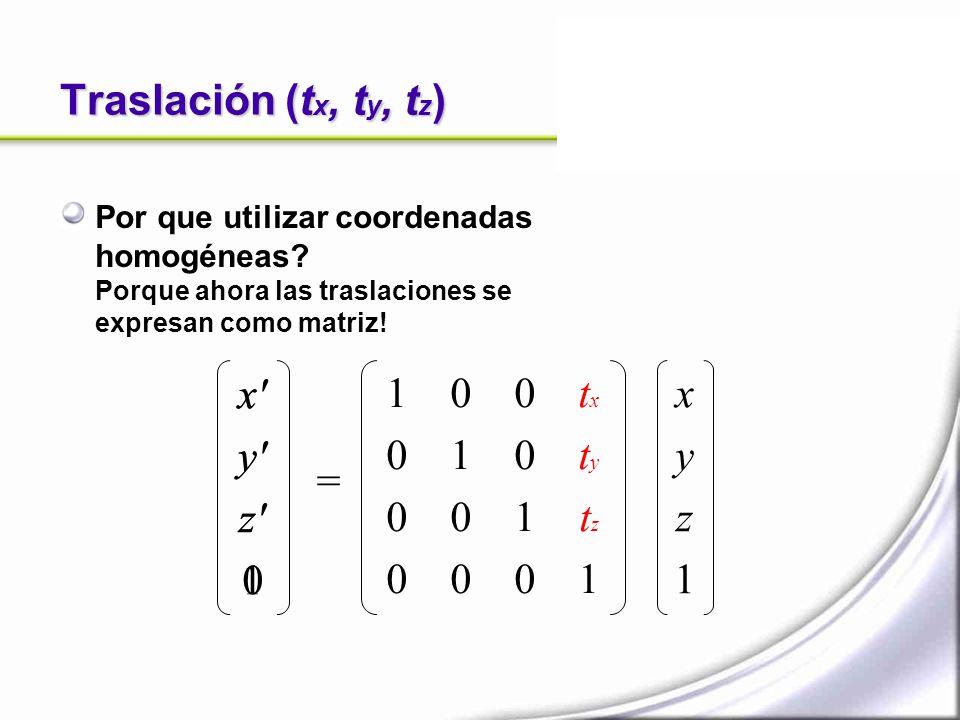 Traslación (t x, t y, t z ) Por que utilizar coordenadas homogéneas? Porque ahora las traslaciones se expresan como matriz! x' y' z' 0 = xyz1xyz1 1 0