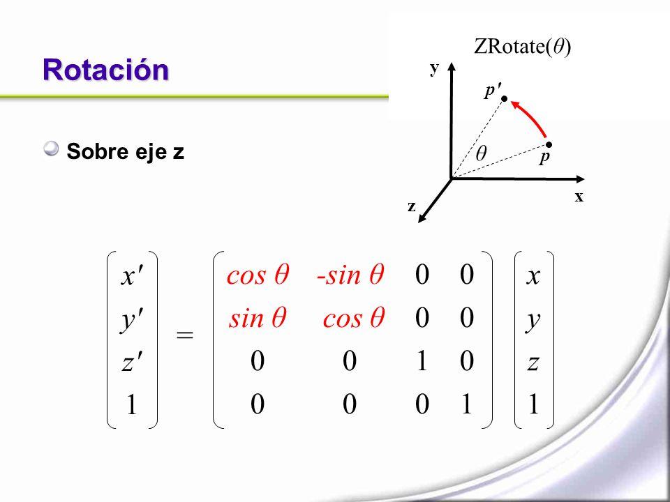 Rotación Sobre eje z x' y' z' 1 = xyz1xyz1 cos θ sin θ 0 0 -sin θ cos θ 0 0 00100010 00010001 ZRotate(θ) x y z p p' θ