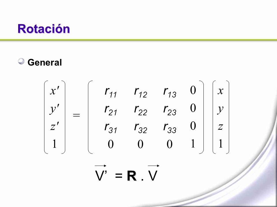 Rotación General x' y' z' 1 = xyz1xyz1 r 12 r 22 r 32 0 00010001 r 11 r 21 r 31 0 r 13 r 23 r 33 0 R V = R. V
