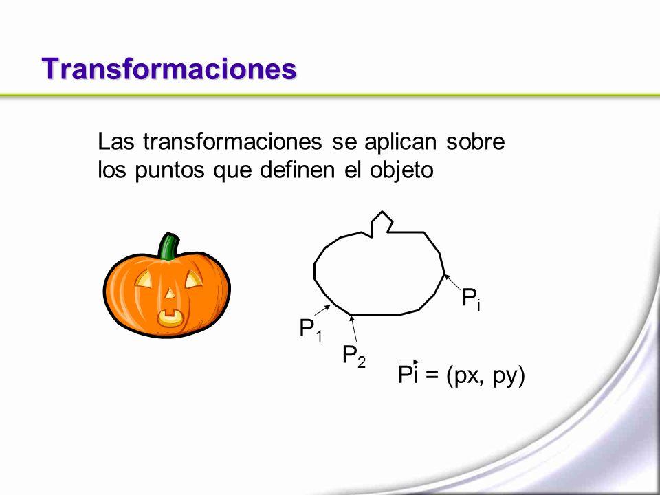 Transformaciones P1P1 P2P2 PiPi Pi = (px, py) Las transformaciones se aplican sobre los puntos que definen el objeto