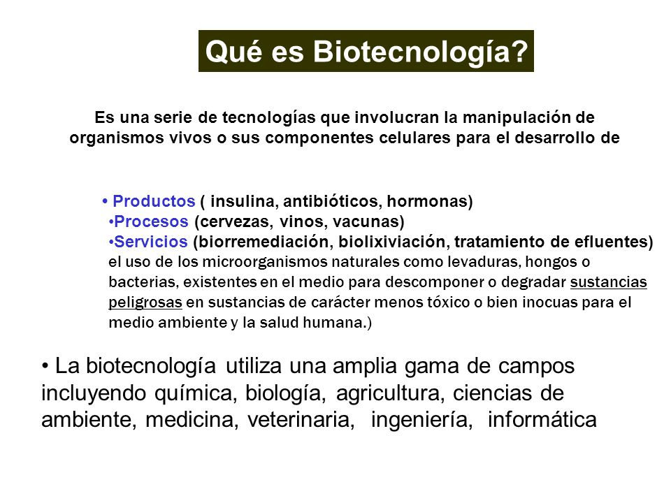 Productos ( insulina, antibióticos, hormonas) Procesos (cervezas, vinos, vacunas) Servicios (biorremediación, biolixiviación, tratamiento de efluentes