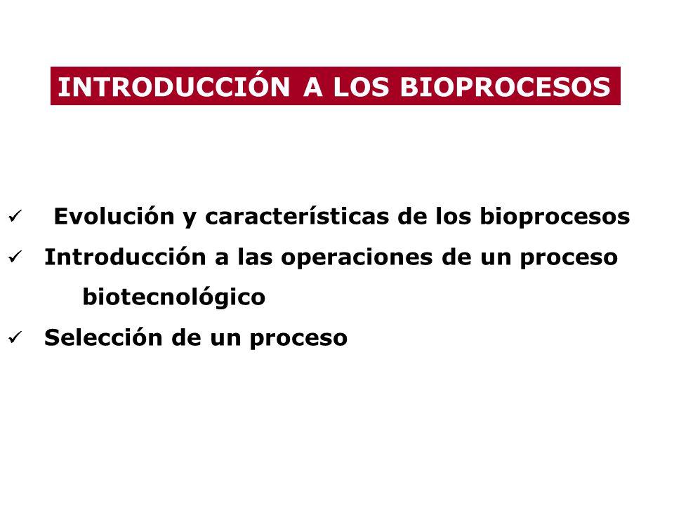 Evolución y características de los bioprocesos Introducción a las operaciones de un proceso biotecnológico Selección de un proceso INTRODUCCIÓN A LOS