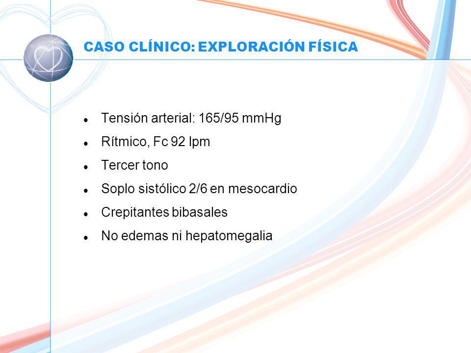 CASO CLÍNICO: EXPLORACIÓN FÍSICA l Tensión arterial: 165/95 mmHg l Rítmico, Fc 92 lpm l Tercer tono l Soplo sistólico 2/6 en mesocardio l Crepitantes bibasales l No edemas ni hepatomegalia