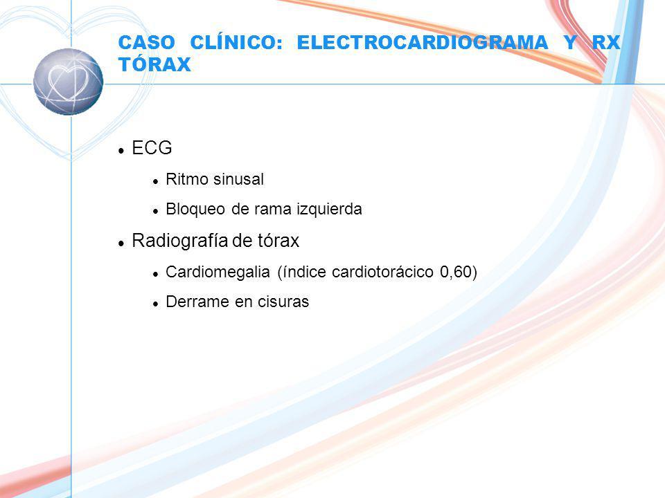CASO CLÍNICO: ELECTROCARDIOGRAMA Y RX TÓRAX l ECG l Ritmo sinusal l Bloqueo de rama izquierda l Radiografía de tórax l Cardiomegalia (índice cardiotorácico 0,60) l Derrame en cisuras