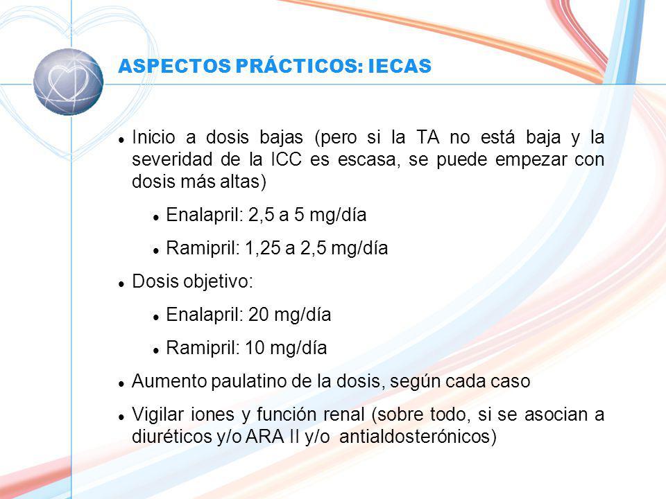 ASPECTOS PRÁCTICOS: IECAS l Inicio a dosis bajas (pero si la TA no está baja y la severidad de la ICC es escasa, se puede empezar con dosis más altas) l Enalapril: 2,5 a 5 mg/día l Ramipril: 1,25 a 2,5 mg/día l Dosis objetivo: l Enalapril: 20 mg/día l Ramipril: 10 mg/día l Aumento paulatino de la dosis, según cada caso l Vigilar iones y función renal (sobre todo, si se asocian a diuréticos y/o ARA II y/o antialdosterónicos)
