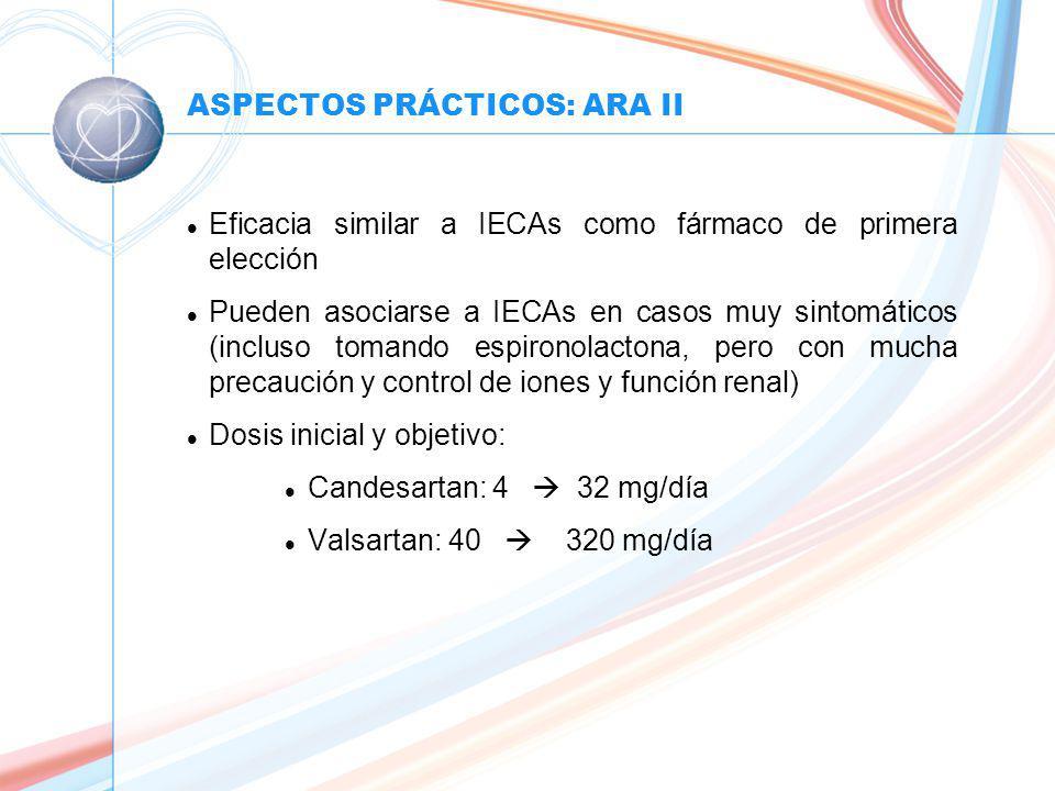 ASPECTOS PRÁCTICOS: ARA II l Eficacia similar a IECAs como fármaco de primera elección l Pueden asociarse a IECAs en casos muy sintomáticos (incluso tomando espironolactona, pero con mucha precaución y control de iones y función renal) l Dosis inicial y objetivo: l Candesartan: 4 32 mg/día l Valsartan: 40 320 mg/día