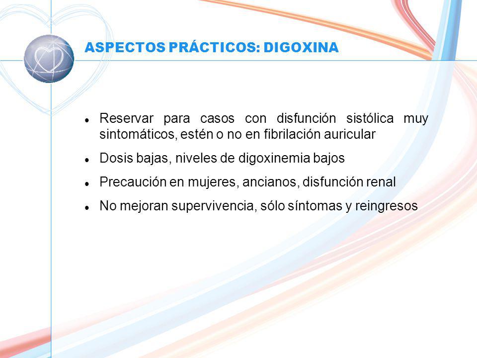 ASPECTOS PRÁCTICOS: DIGOXINA l Reservar para casos con disfunción sistólica muy sintomáticos, estén o no en fibrilación auricular l Dosis bajas, niveles de digoxinemia bajos l Precaución en mujeres, ancianos, disfunción renal l No mejoran supervivencia, sólo síntomas y reingresos