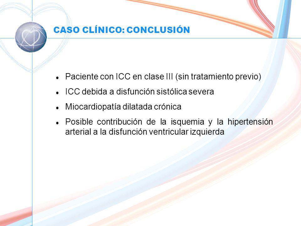 CASO CLÍNICO: CONCLUSIÓN l Paciente con ICC en clase III (sin tratamiento previo) l ICC debida a disfunción sistólica severa l Miocardiopatía dilatada crónica l Posible contribución de la isquemia y la hipertensión arterial a la disfunción ventricular izquierda