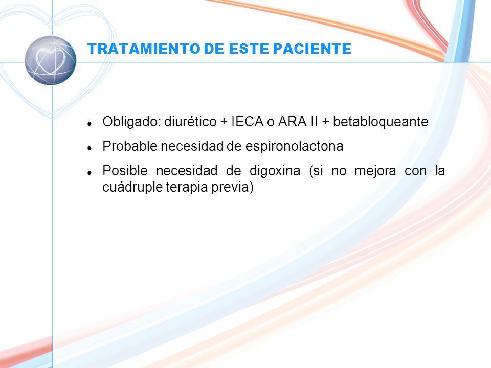 TRATAMIENTO DE ESTE PACIENTE l Obligado: diurético + IECA o ARA II + betabloqueante l Probable necesidad de espironolactona l Posible necesidad de digoxina (si no mejora con la cuádruple terapia previa)