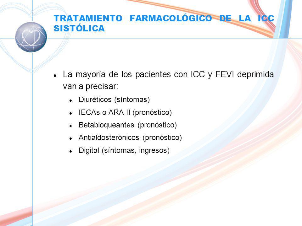 TRATAMIENTO FARMACOLÓGICO DE LA ICC SISTÓLICA l La mayoría de los pacientes con ICC y FEVI deprimida van a precisar: l Diuréticos (síntomas) l IECAs o ARA II (pronóstico) l Betabloqueantes (pronóstico) l Antialdosterónicos (pronóstico) l Digital (síntomas, ingresos)