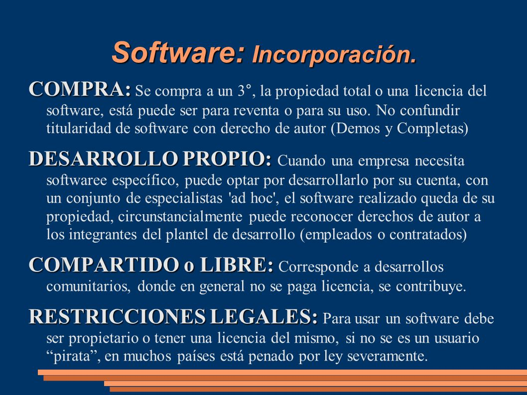 Software: Incorporación.