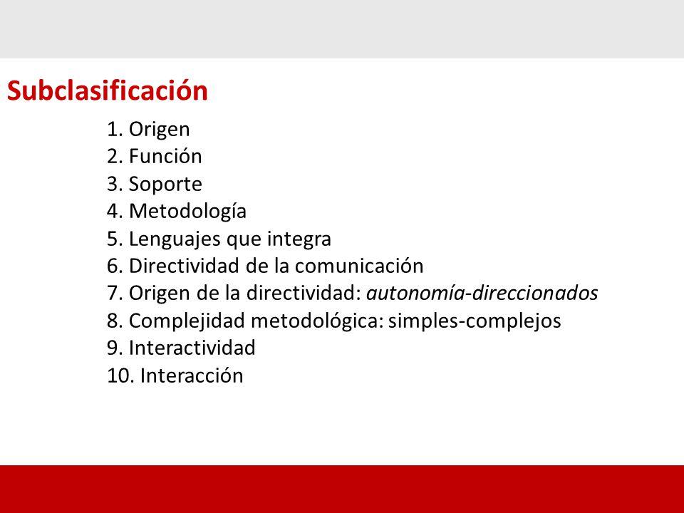 Subclasificación 1.Origen 2. Función 3. Soporte 4.