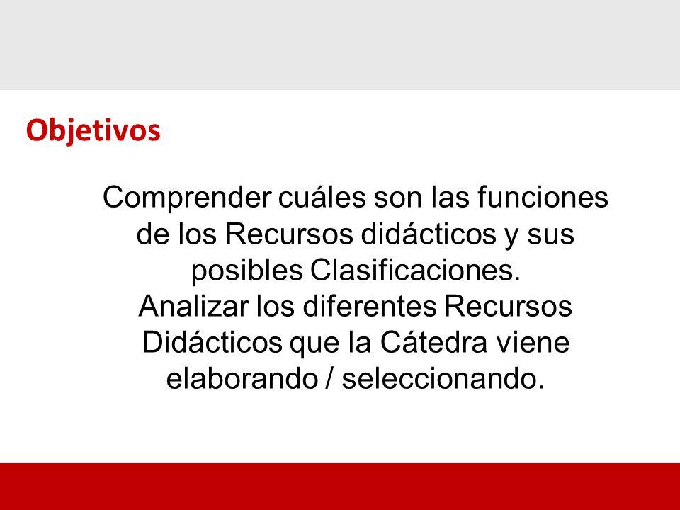 Comprender cuáles son las funciones de los Recursos didácticos y sus posibles Clasificaciones.