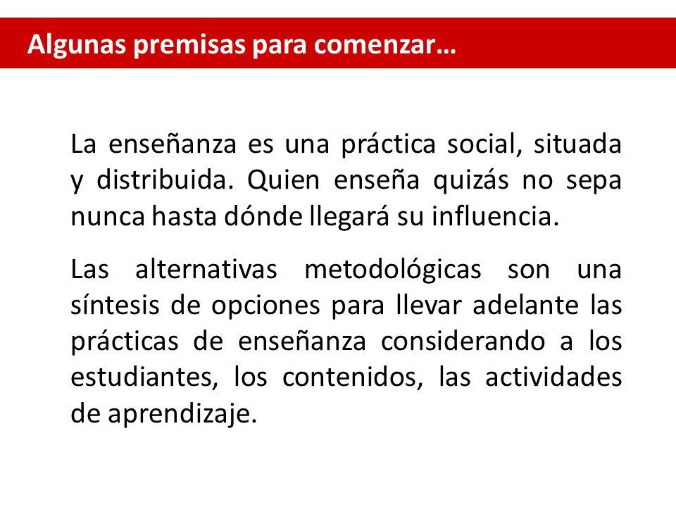 Algunas premisas para comenzar… La enseñanza es una práctica social, situada y distribuida.