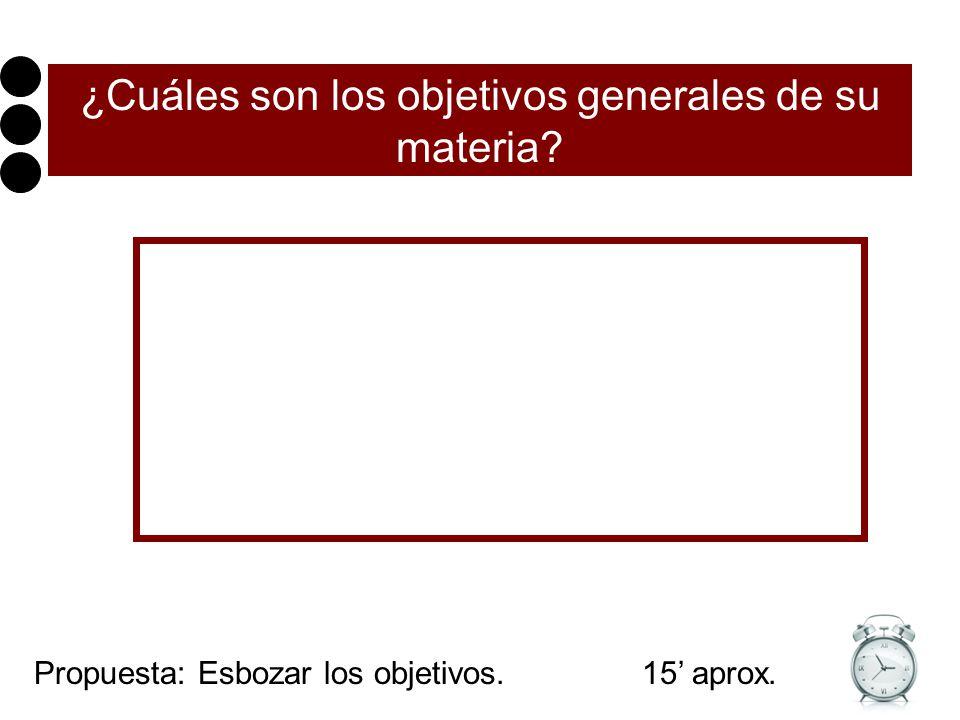 ¿Cuáles son los objetivos generales de su materia? Propuesta: Esbozar los objetivos. 15 aprox.