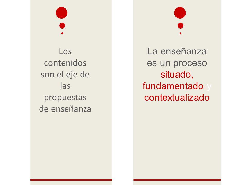 Los contenidos son el eje de las propuestas de enseñanza La enseñanza es un proceso situado, fundamentado y contextualizado