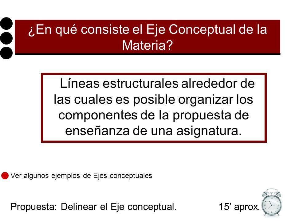 ¿En qué consiste el Eje Conceptual de la Materia.