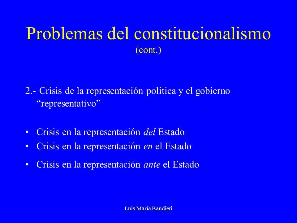 Luis María Bandieri Problemas del constitucionalismo (cont.) 2.- Crisis de la representación política y el gobierno representativo Crisis en la representación del Estado Crisis en la representación en el Estado Crisis en la representación ante el Estado