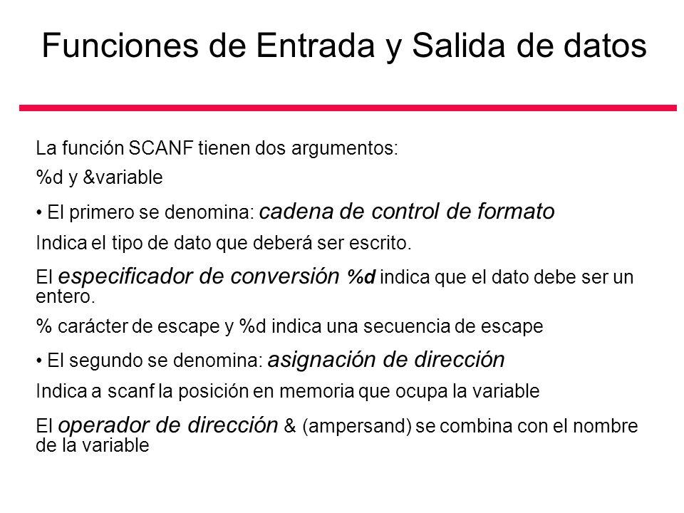 La función SCANF tienen dos argumentos: %d y &variable El primero se denomina: cadena de control de formato Indica el tipo de dato que deberá ser escr