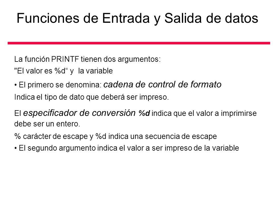 La función PRINTF tienen dos argumentos: