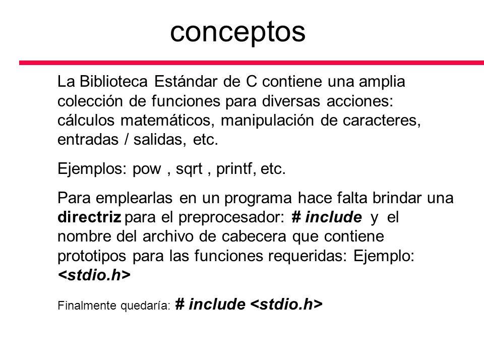 conceptos La Biblioteca Estándar de C contiene una amplia colección de funciones para diversas acciones: cálculos matemáticos, manipulación de caracte